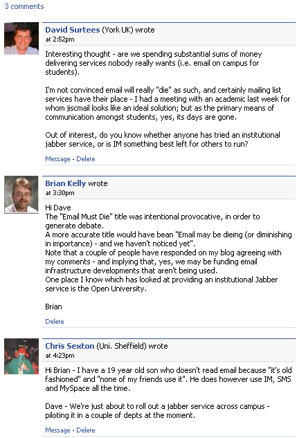 Facebook discussion on email debate