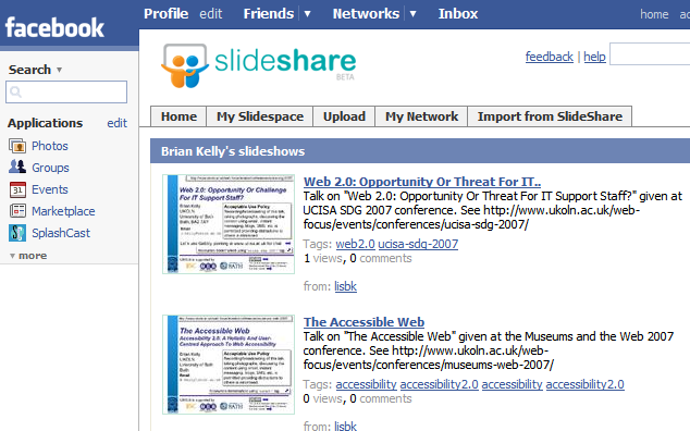 Facebook now supports Slideshare