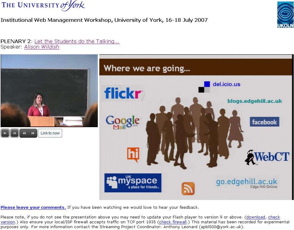 Video of Alison Wildish talk at IWMW 2007