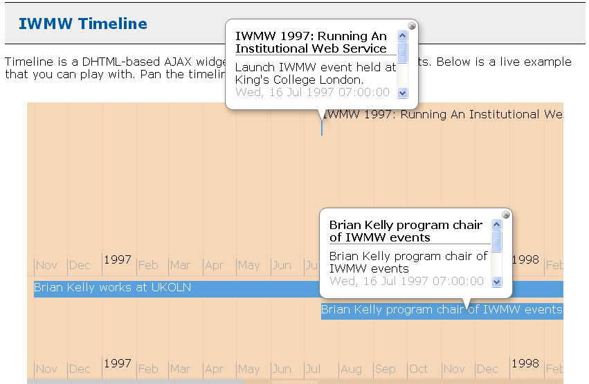 Use of the SImile Timeline software for IWMW events