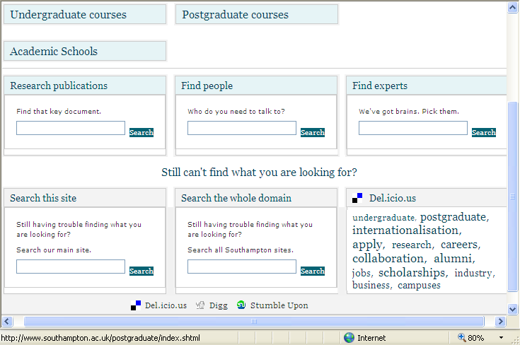 University of Southampton search page