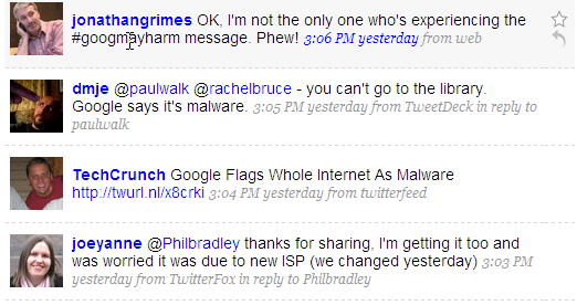 Twitter posts about Google problems