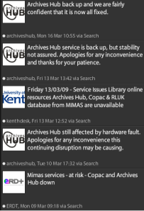 Twitter posts about ArchivesHub downtime