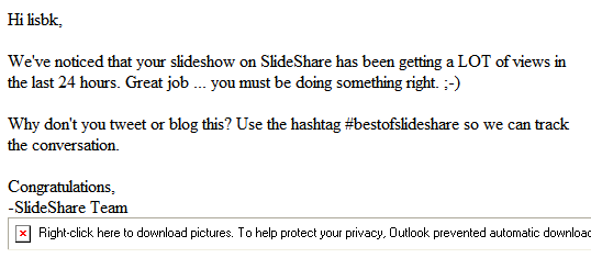 Email from Slideshare on 1 April 2009