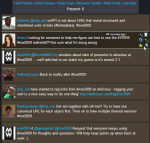 Twitterwall Display of MW2009 Tweets