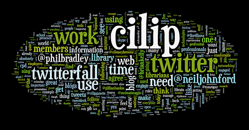 Wordle display of Twitter posts tagged with #cilip2 tag