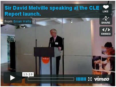 Sir David Melville speaking at launch of the CLEX09 Report