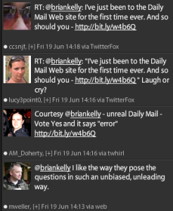 Comments on Twitter about the Daily Mail poll