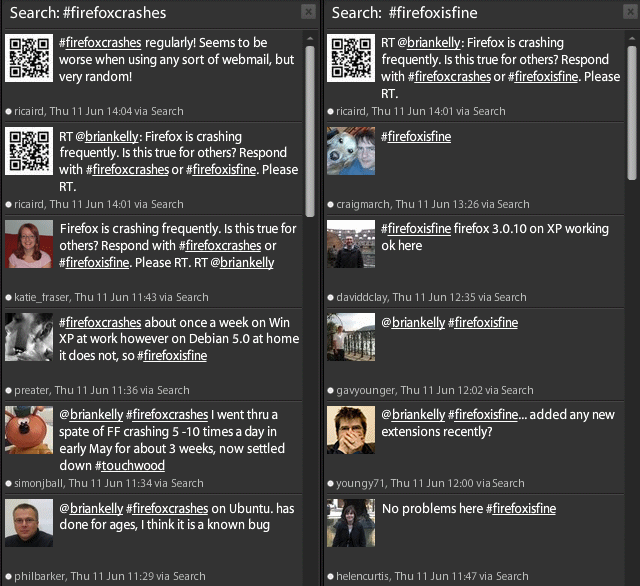 "Twitter responses to ""#firefoxcrashes"" or ""#firefoxisfine"""