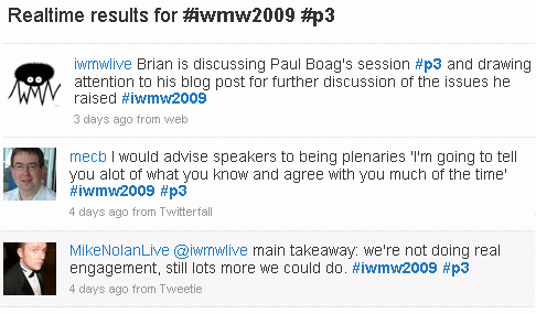 Hashtags used to find tweets about #iwmw2009 and #p3
