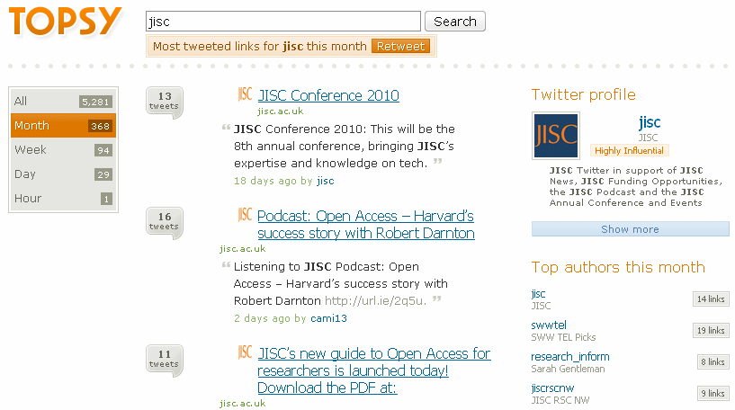 Topsy search for jisc