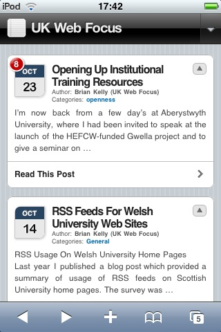Blog viewed on an iPod Touch mobile device