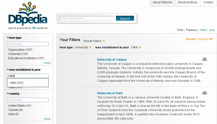 DBpedia search for Universities established in 1966