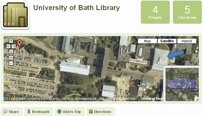 University of Bath Library positioned incorrectly in Gowalla