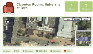 Location of the Claverton Rooms shown in Gowalla