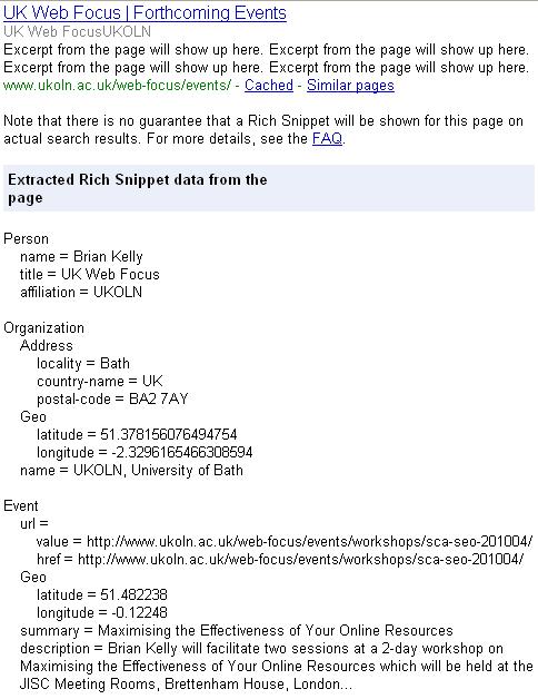Rendering of RDFa markup