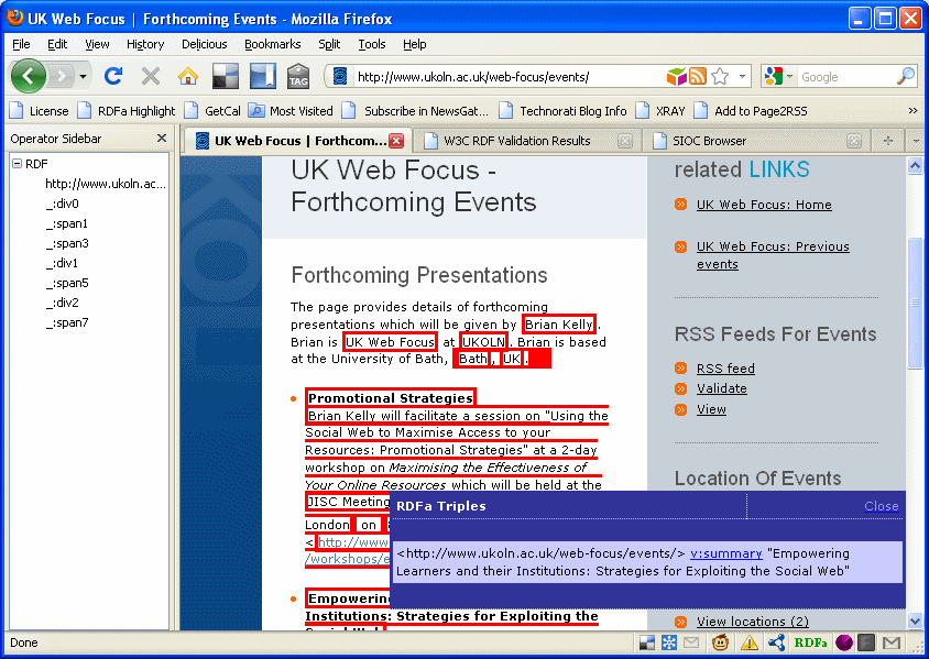 Rendering of RDFa markup using various FireFox tools.