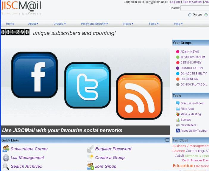 JISCMail Home page