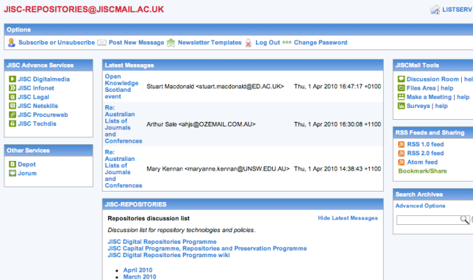 The JISCMail Web interface for the JISC-Repositories list