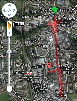 Google Map of Kingsmen dancing crawl of Chester-le-Street