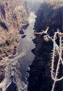 Bungee jumping off the Victoria Falls Bridge in Zambia/Zimbabwe (from Wikipedia)