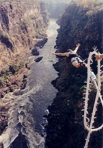 Bungee jumping off the Victoria Falls Bridge in Zambia/Zimbabwe (from Wikipedia)