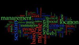 Wordle of abstracts for IWMW 2010 parallel sessions