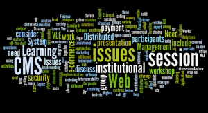 Wordle display of abstracts of IWMW 2000 parallel sessions