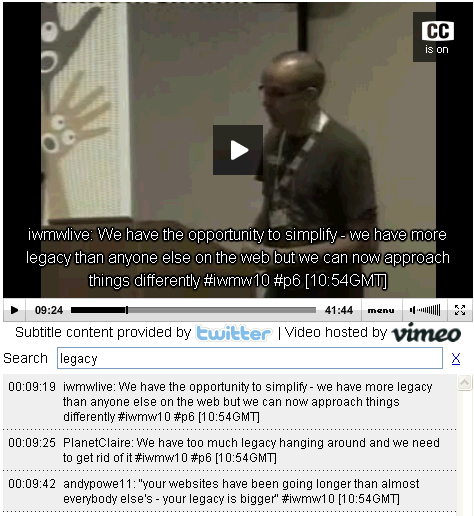 Captioned video of Paul Boag's talk at IWMW 2010