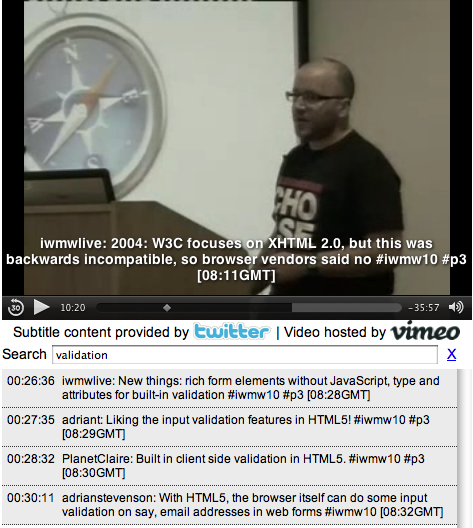 Twitter captioning for video of talk on HTML5