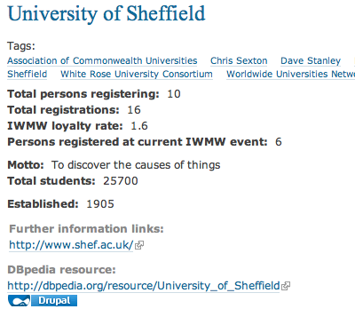 Information about Sheffield University and IWMW events