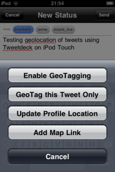 Interface for geo-location of tweets using Tweetdeck
