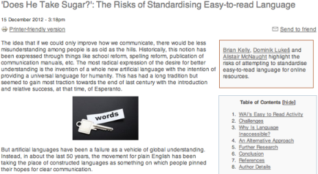 'Does He Take Sugar?': The Risks of Standardising Easy-to-read Language