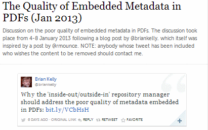 Embedded metadata in PDFs