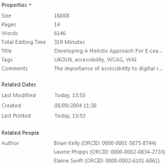 Metadata fields in MS Word