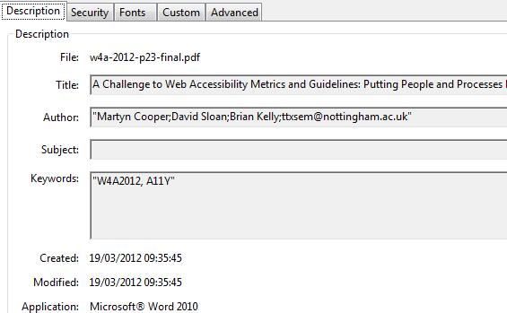 Metadata in PDF source