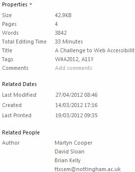 Metadata for MS Word master