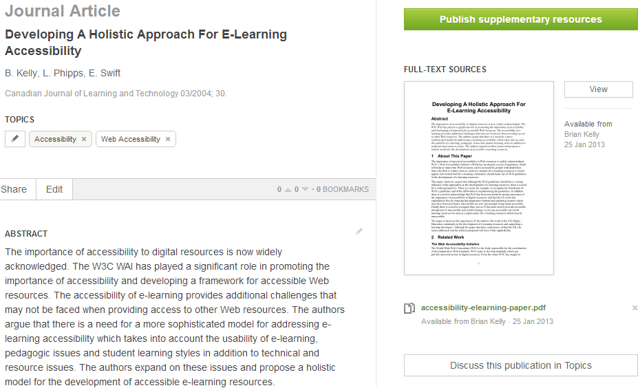 ResearchGate page for CJTL 2004 paper
