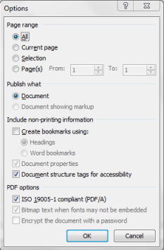 Savie as PDF option in MS Word