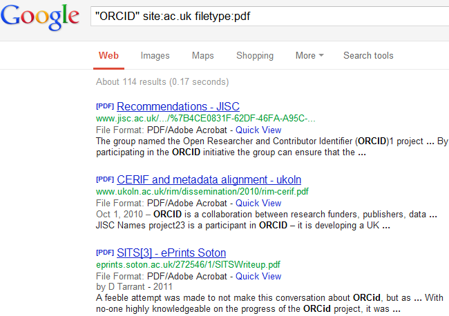 "search for ""ORCID"" in PDFs in ac.uk domain"