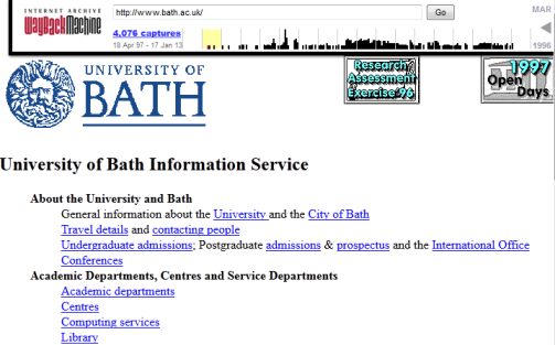 University of Bath home page: 1997