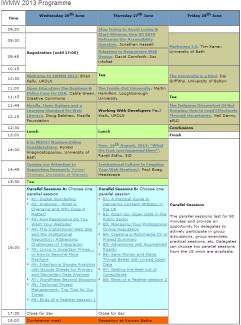 IWMW 2013 programme