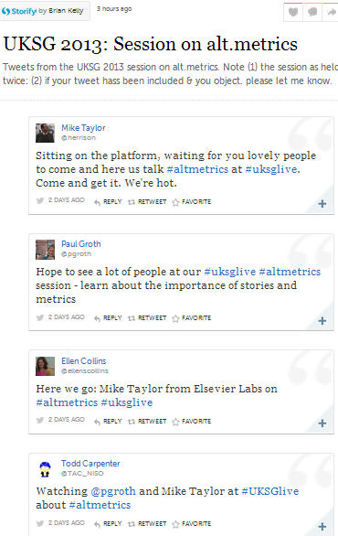Storify summary of UKSG summary altmetrics session