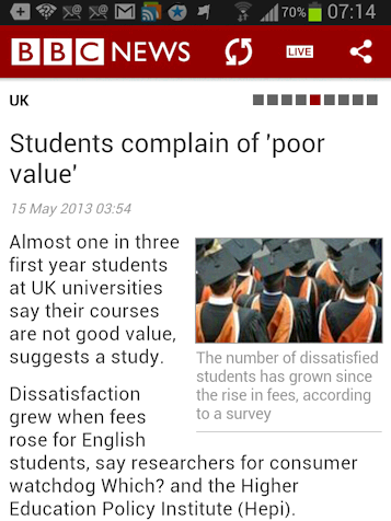 @Students complain' item on BBC News