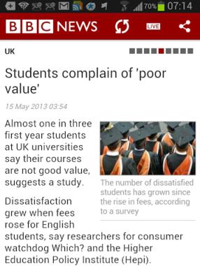 @Students complain' item on BBC News
