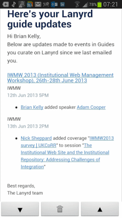 Lanyrd email message about iwmw2013