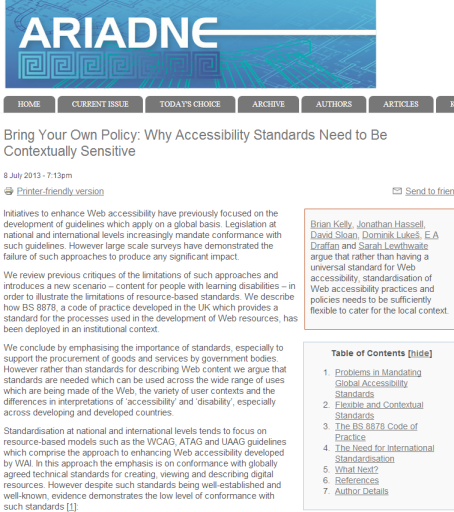 Ariadne paper of accessibility