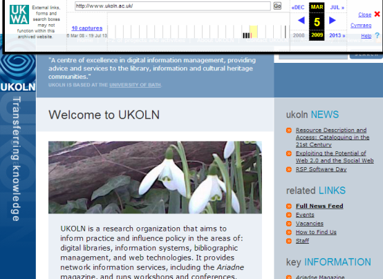 UKOLN Web site in UK Web Archive