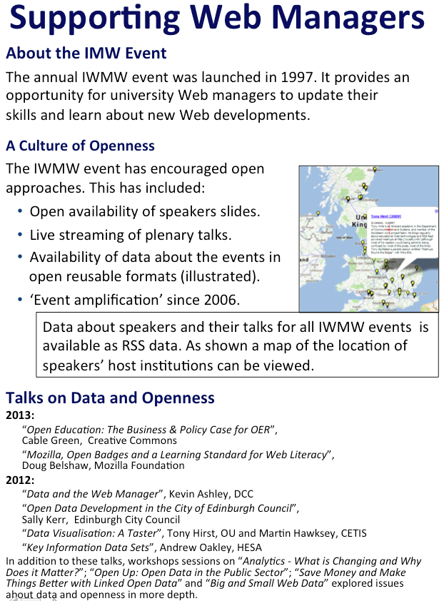 IWMW event and open data