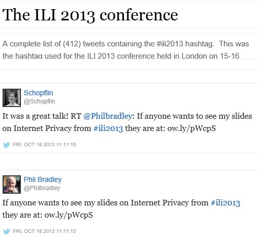 Storify archive for #ILI2013 tweets